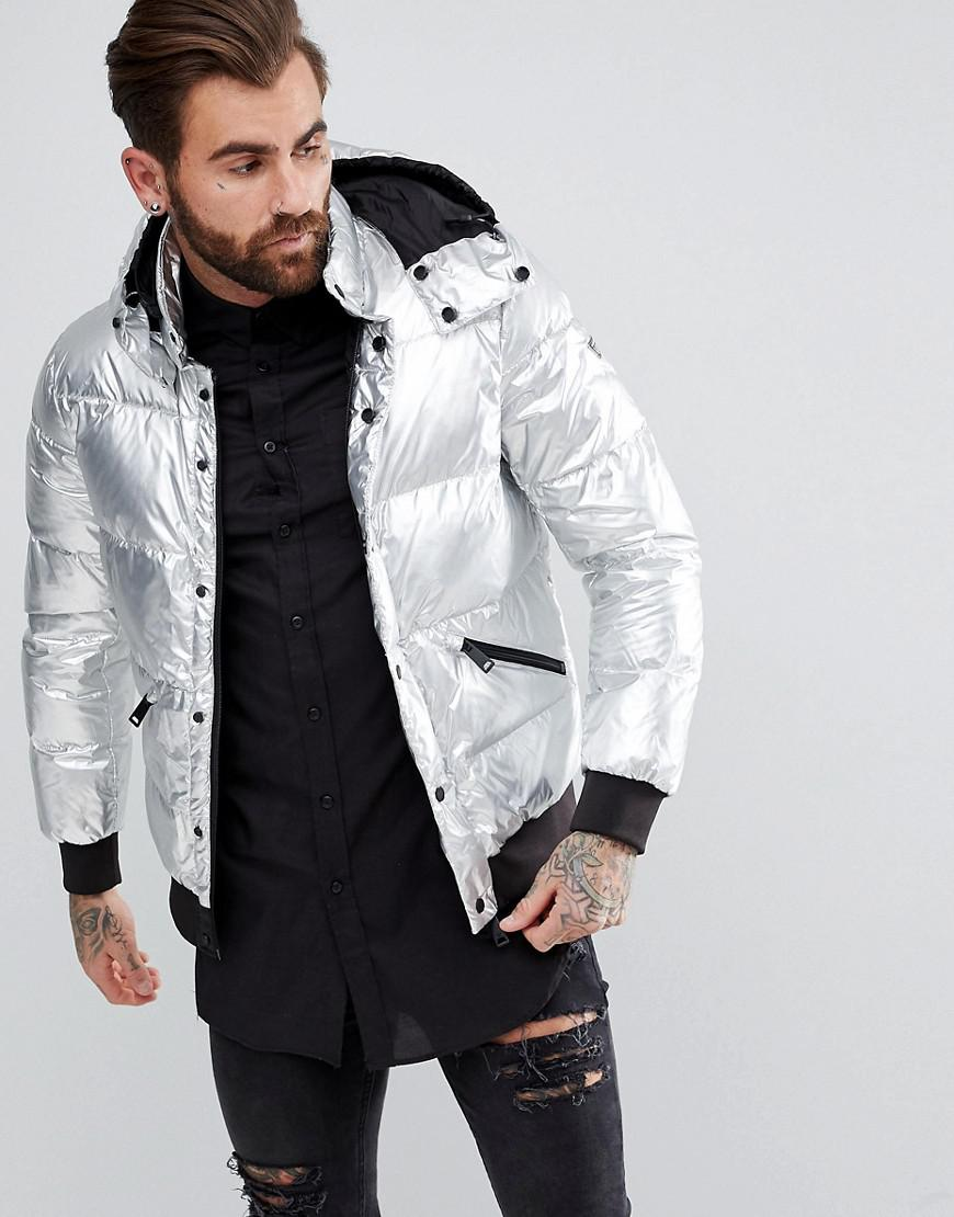 armani jeans down padded hooded bomber jacket silver