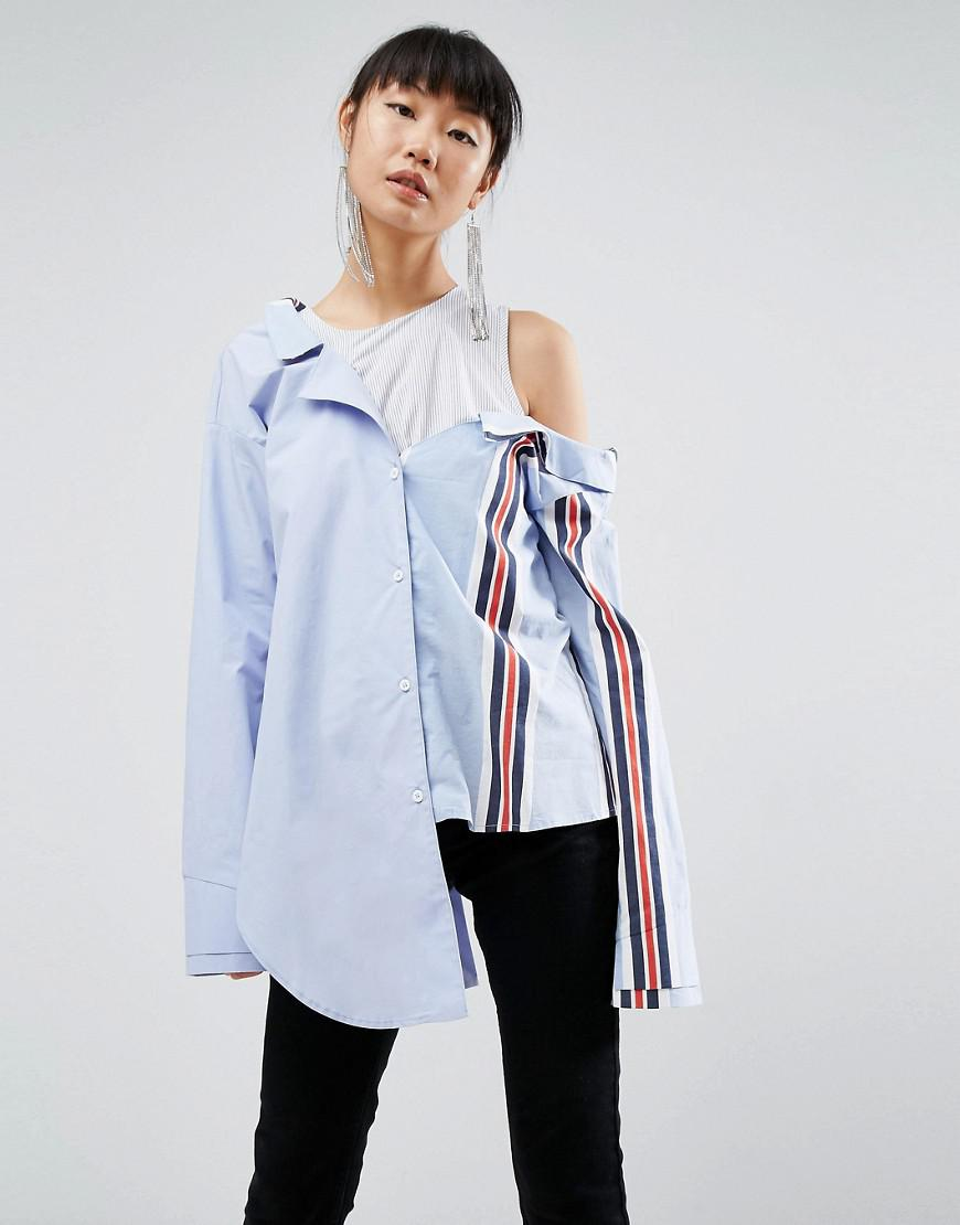 asos white mixed stripe drop shoulder shirt
