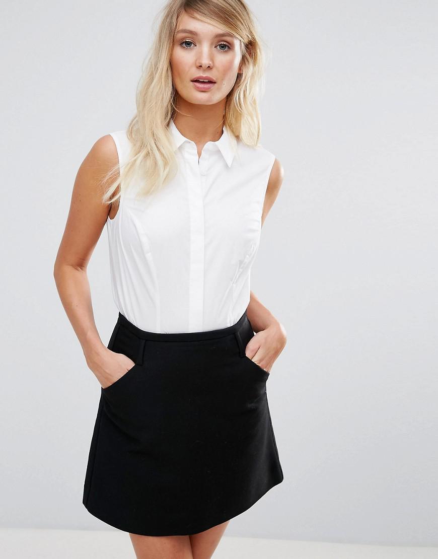 asos design fuller bust sleeveless shirt in stretch cotton