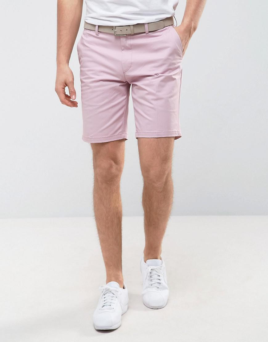 river island chino shorts with belt in pink