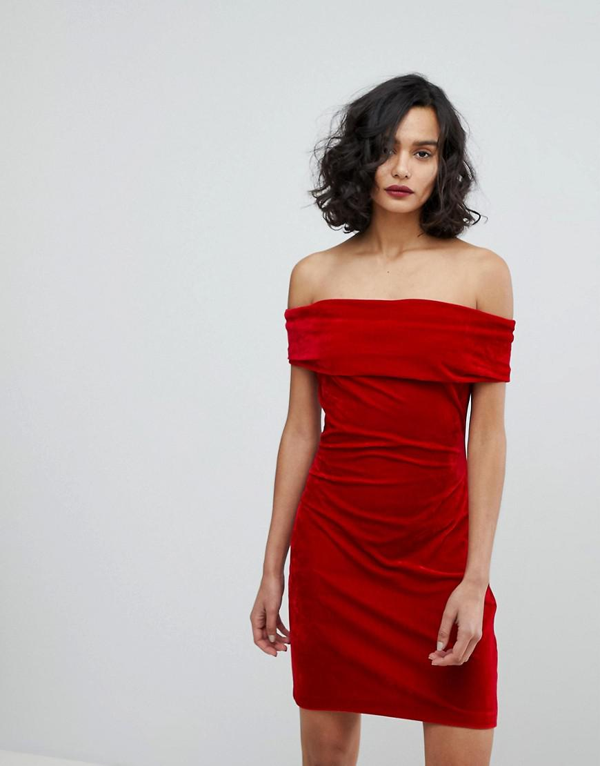 reiss velvet off shoulder dress
