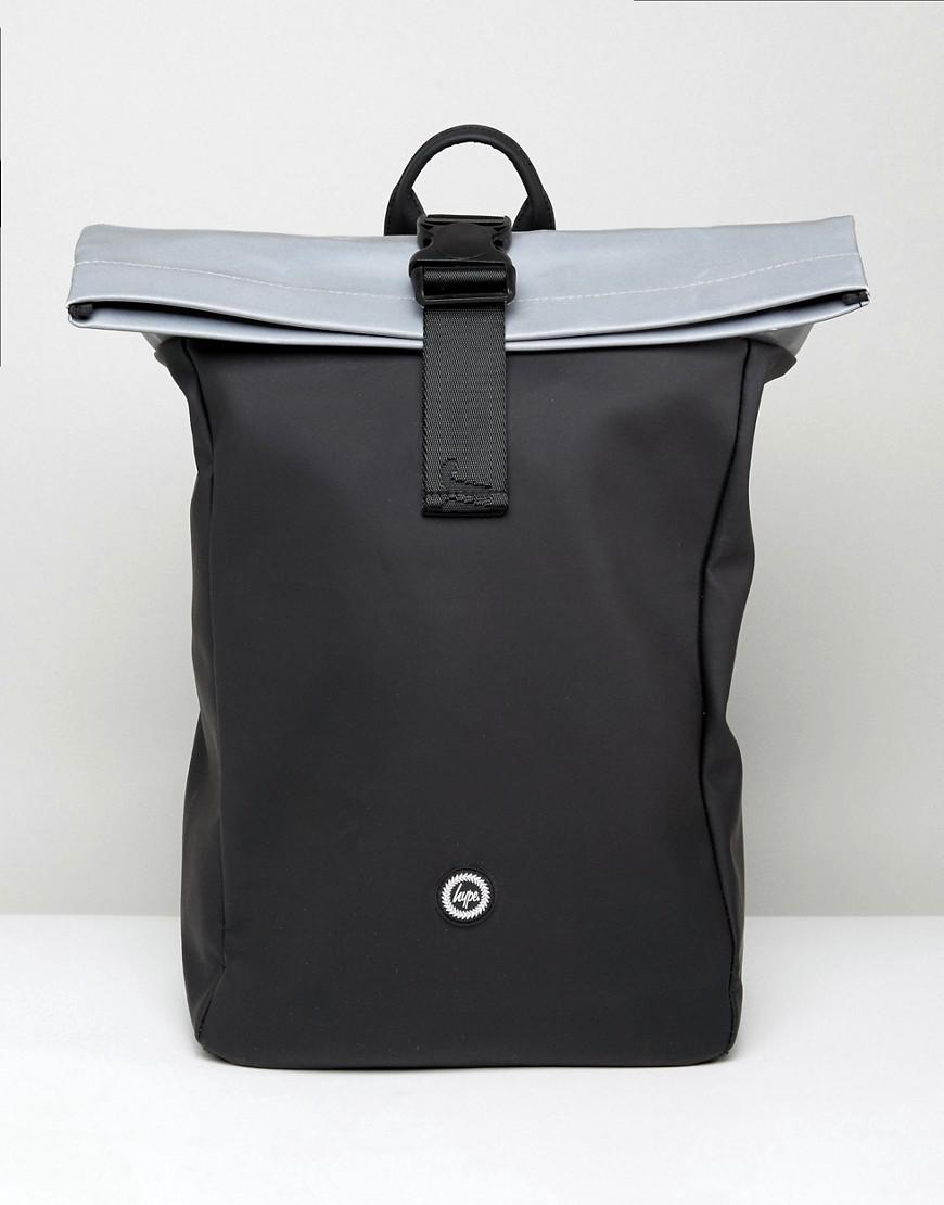 hype rolltop backpack in black with reflective panel