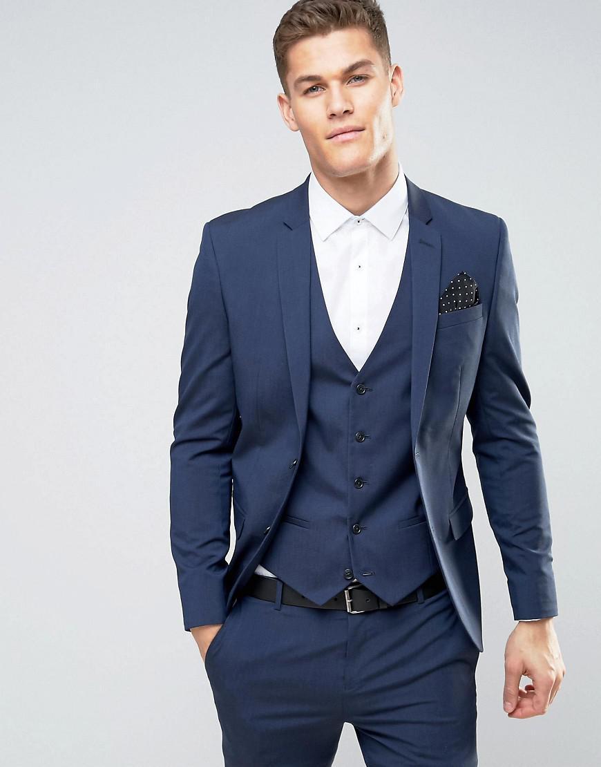 river island skinny fit suit jacket in dark blue