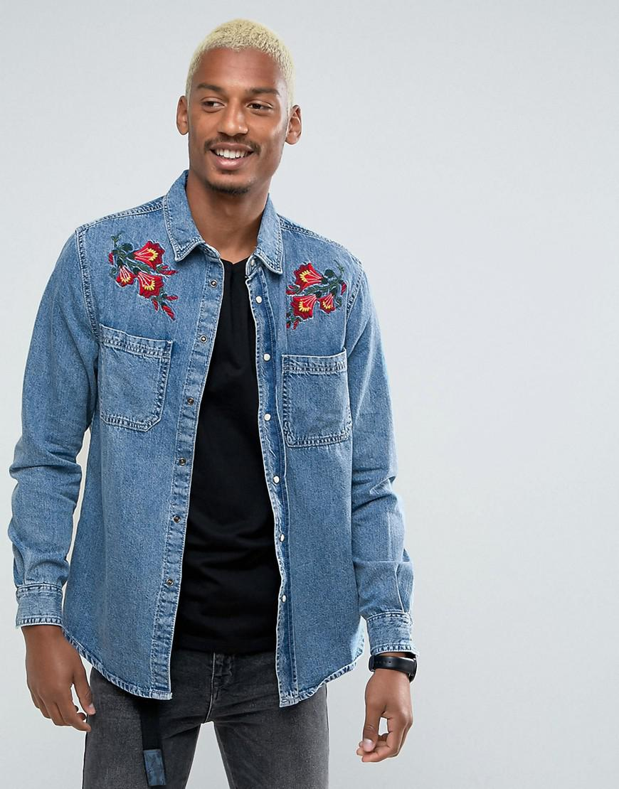 bershka denim shirt with floral embroidery in blue