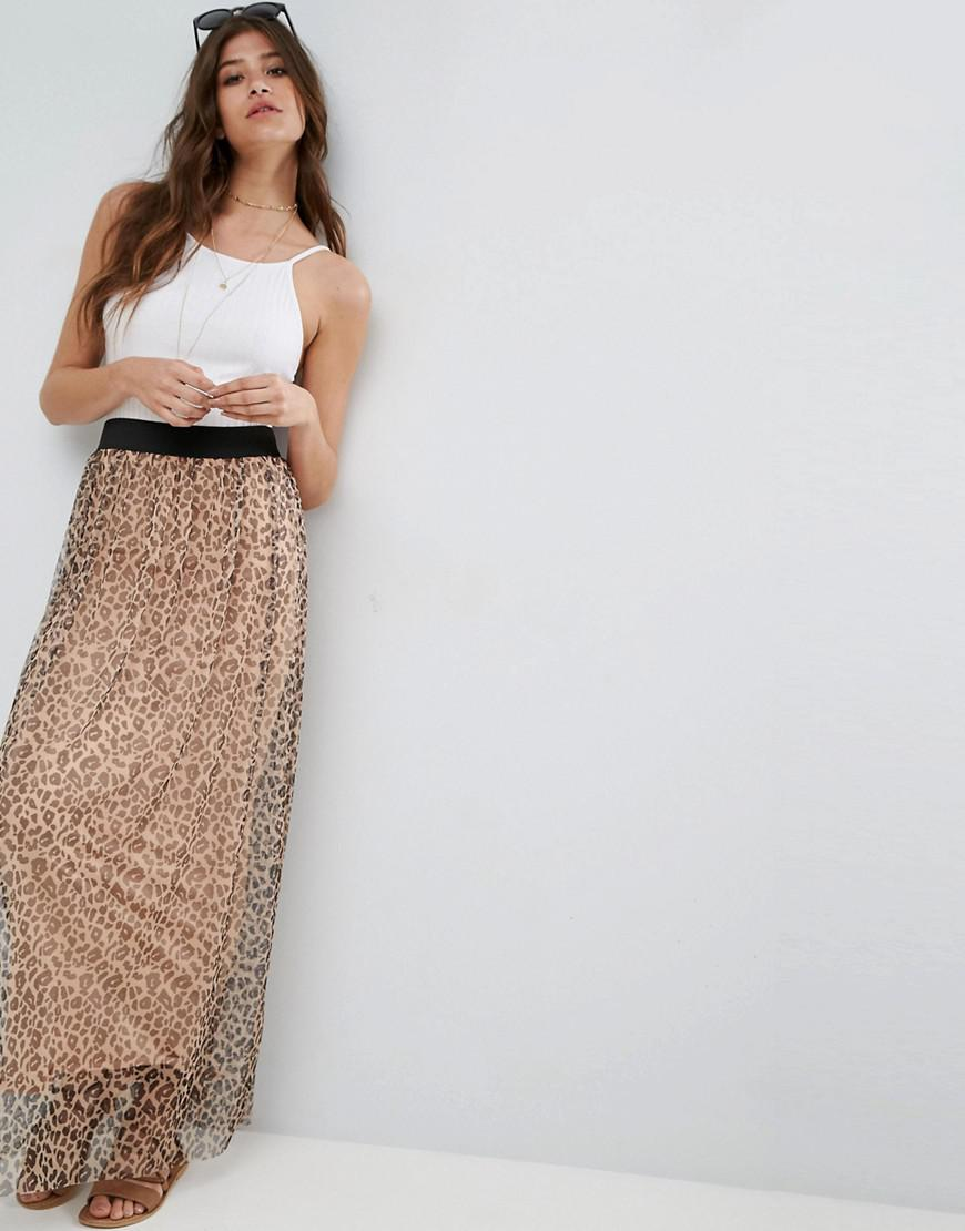asos mesh maxi skirt in animal print