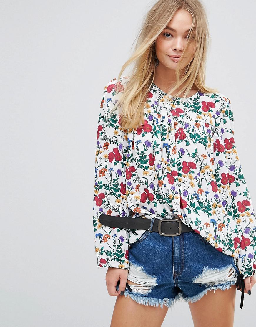 glamorous smock top in floral print