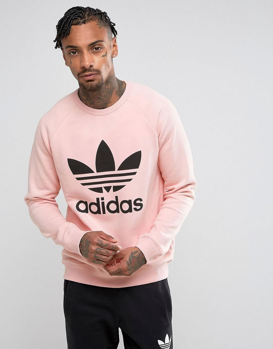 adidas originals trefoil crew neck sweatshirt in pink bs2196
