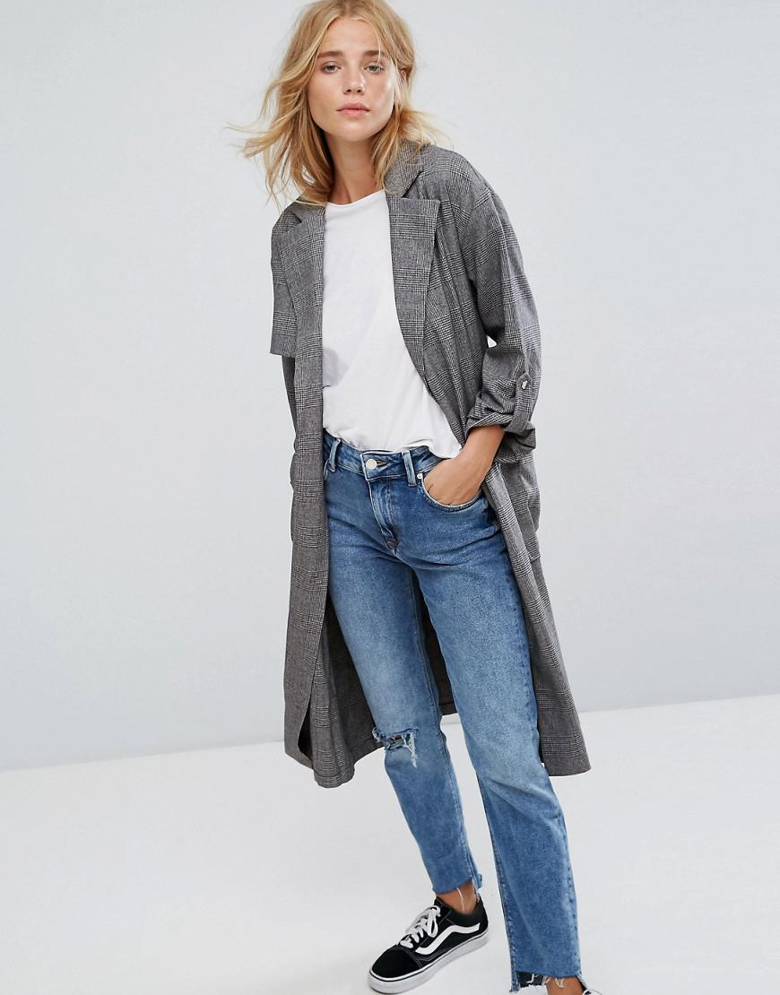 bershka check lightweight trench coat