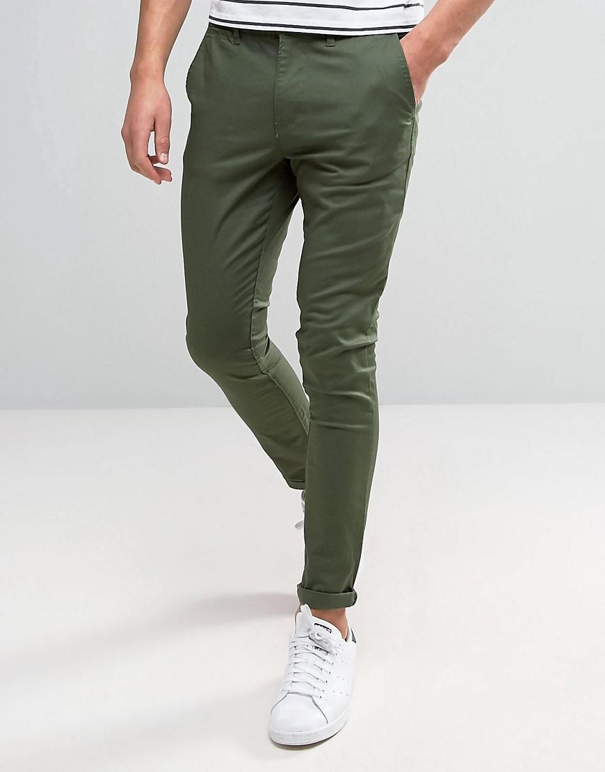 asos super skinny chinos in dark khaki