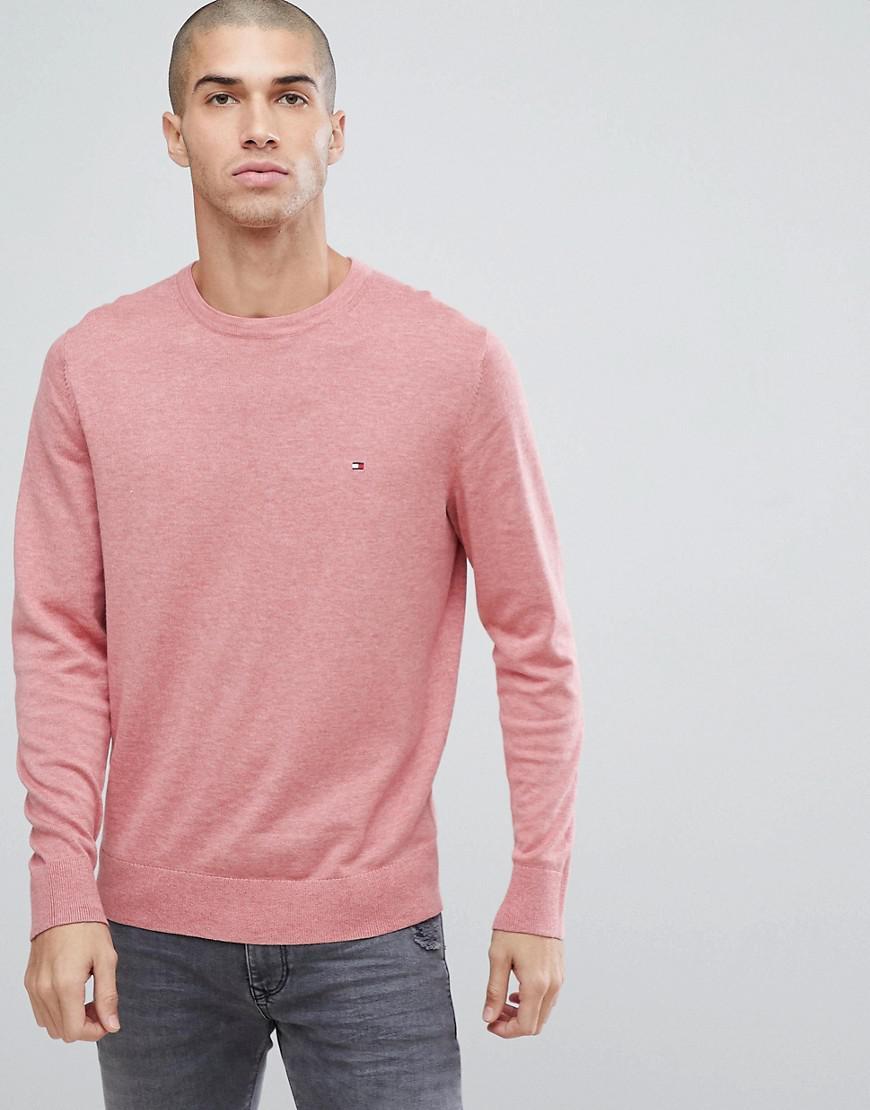 tommy hilfiger flag logo knit sweater plaited cotton silk in pink
