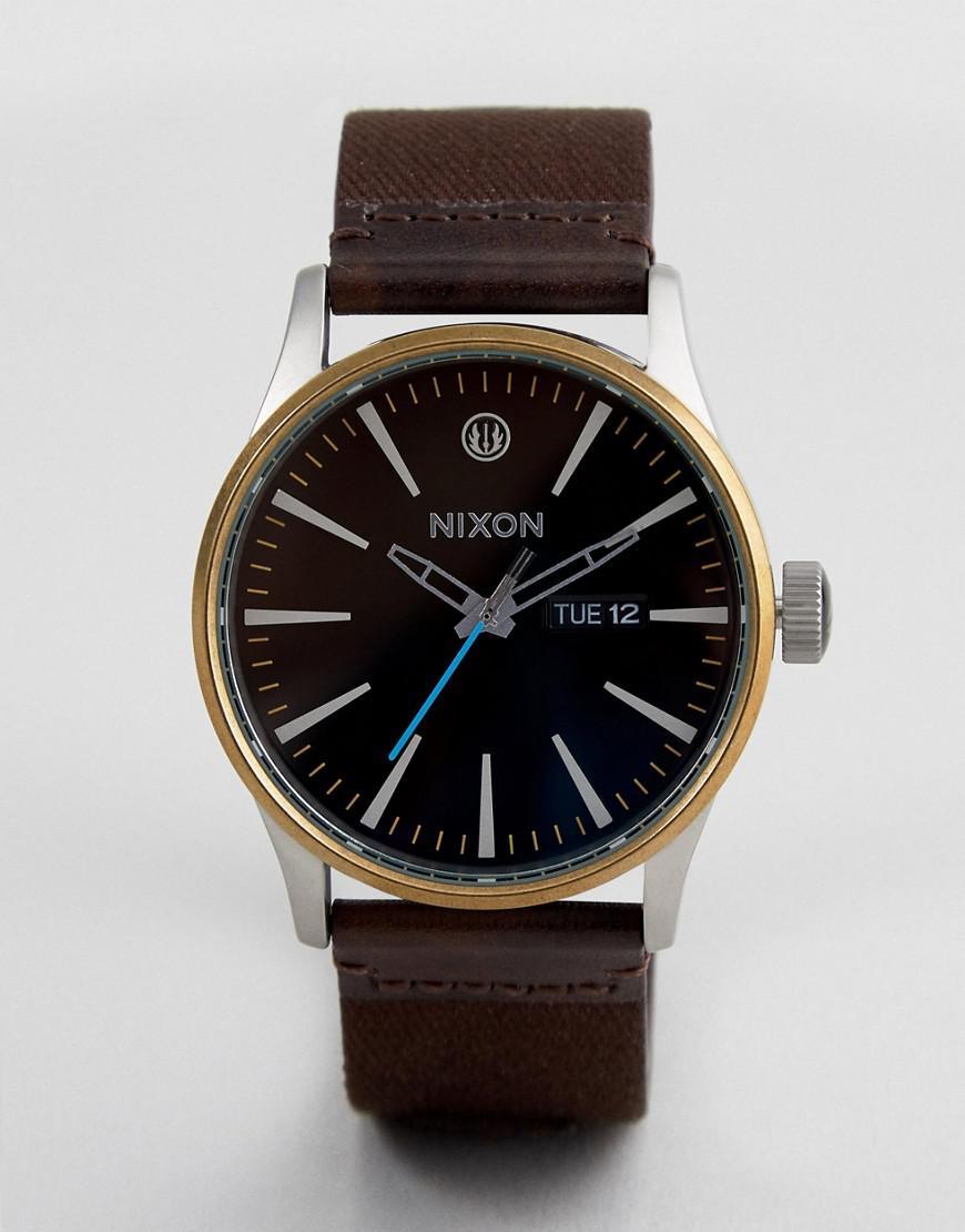 nixon x star wars  luke skywalker sentry leather watch in brown