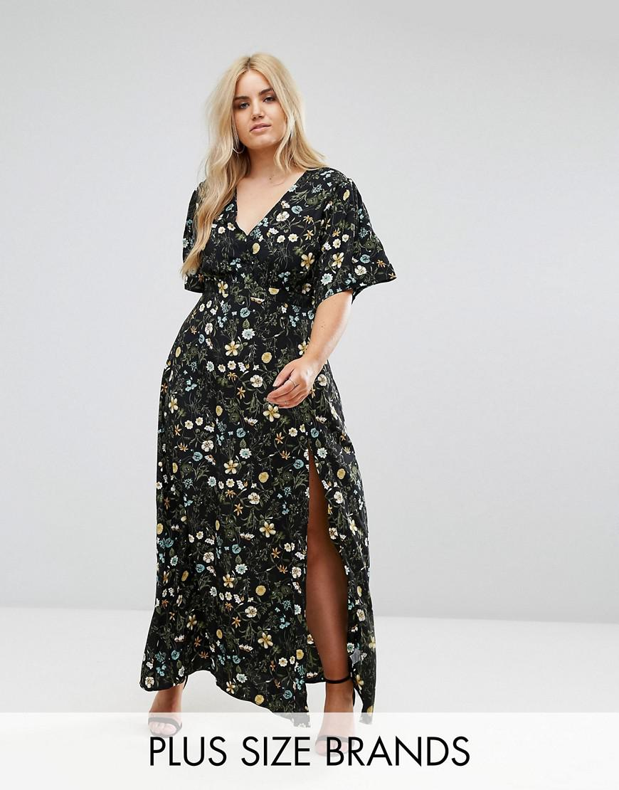 missguided plus floral split front maxi dress