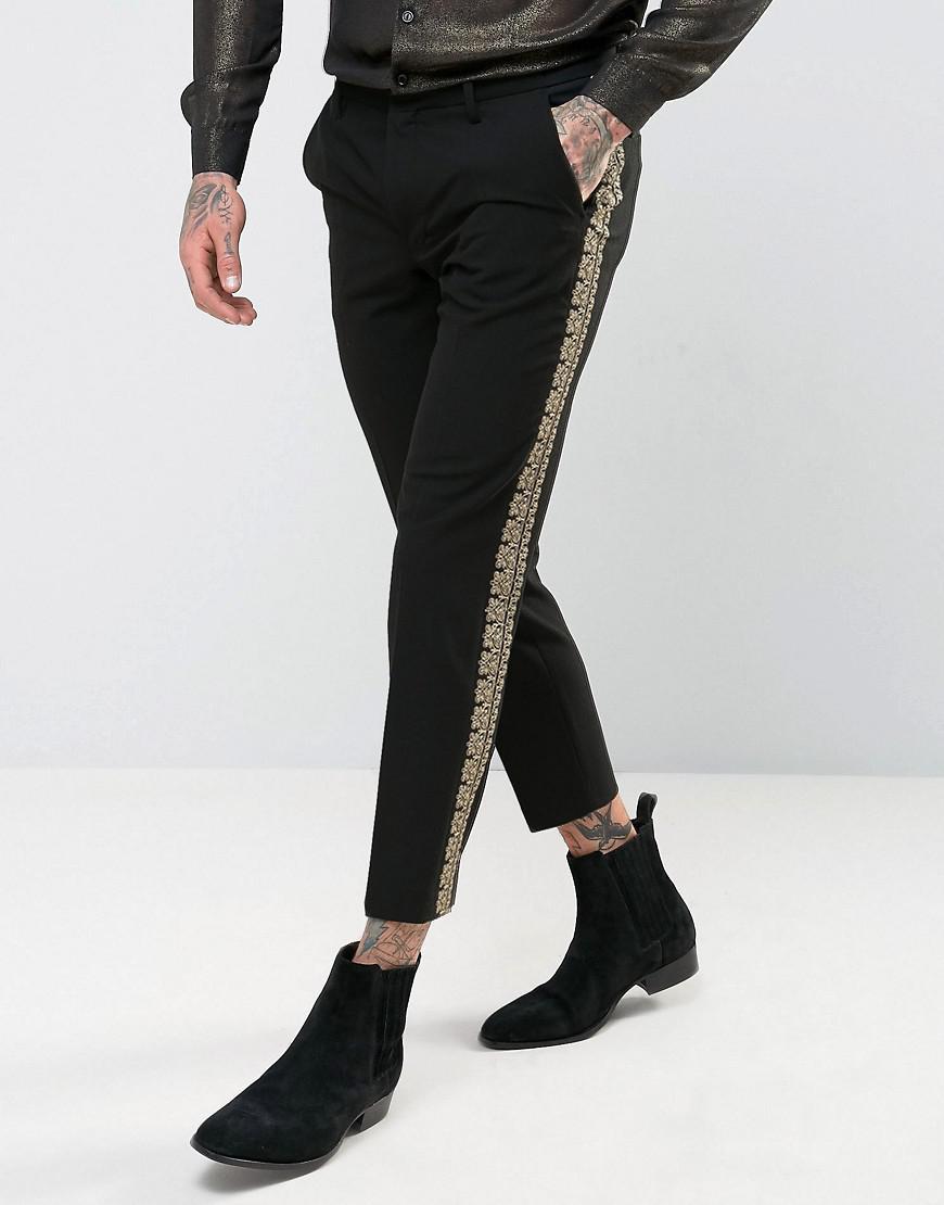 asos skinny crop pants in black with gold brocade trim