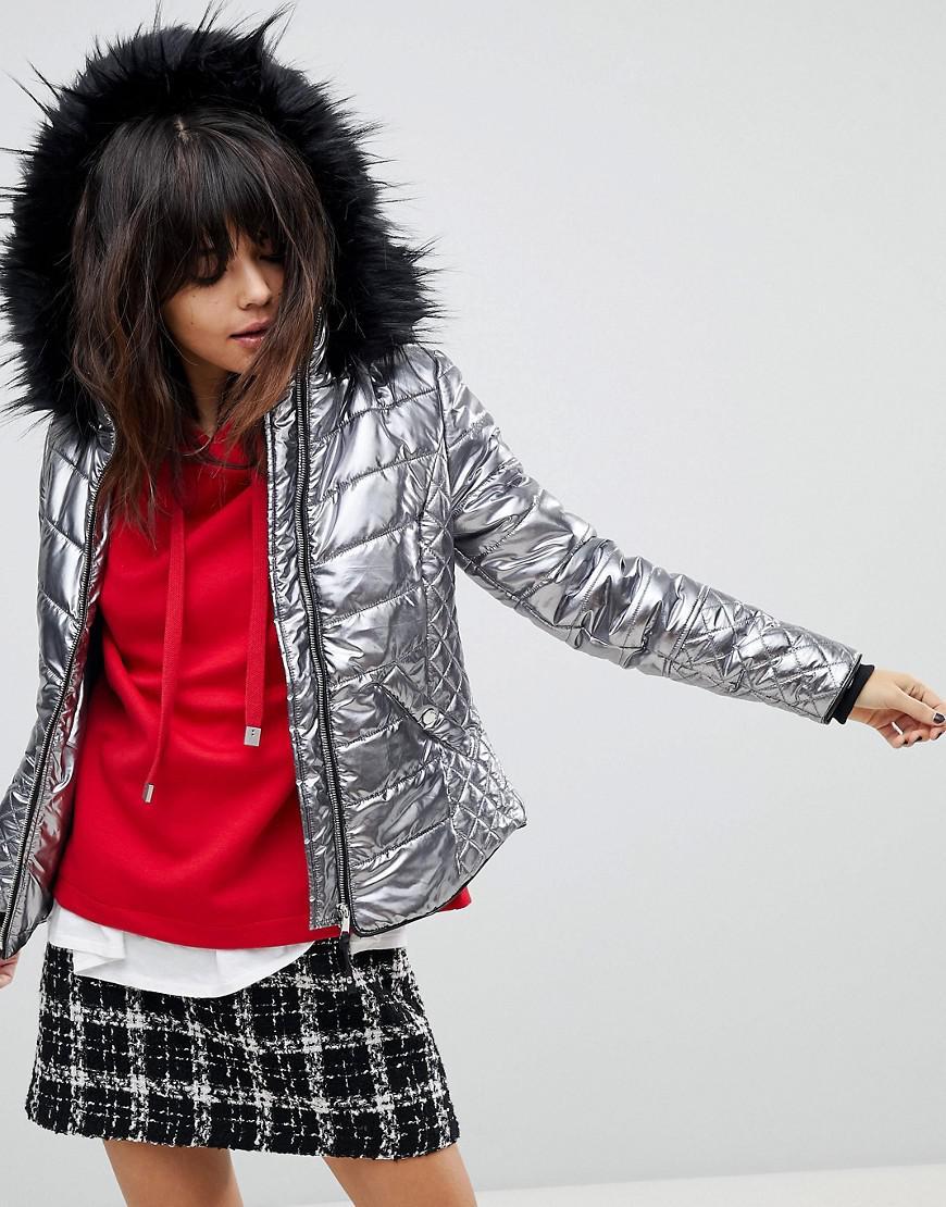 river island faux fur hooded metallic jacket