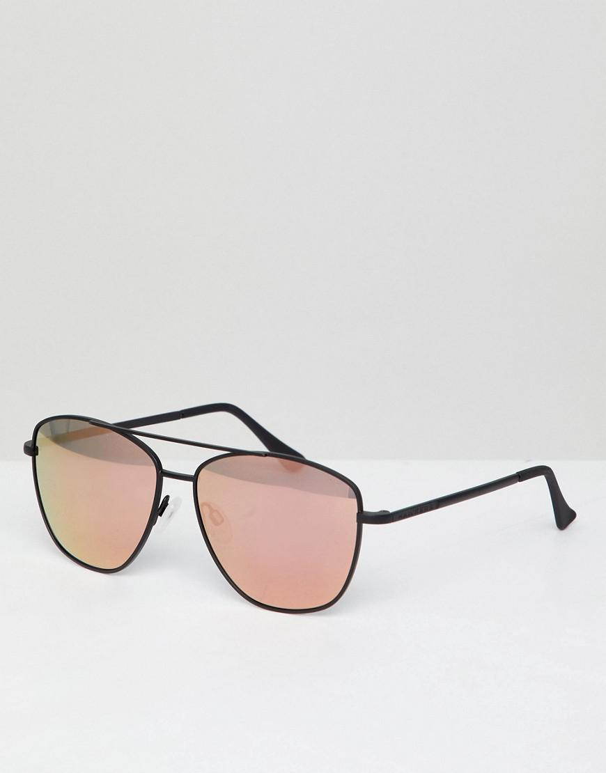 hawkers lax square sunglasses in black with rose gold lenses