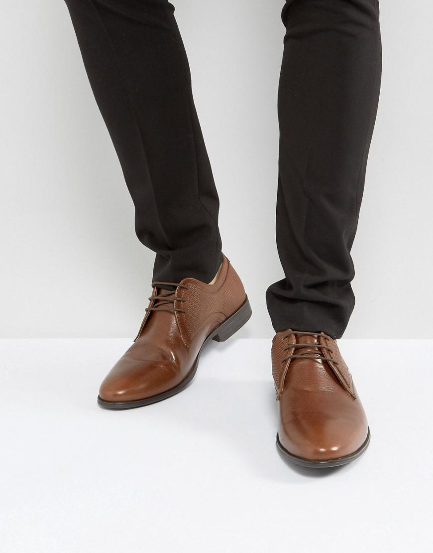 asos derby shoes in tan leather with emboss panel detail