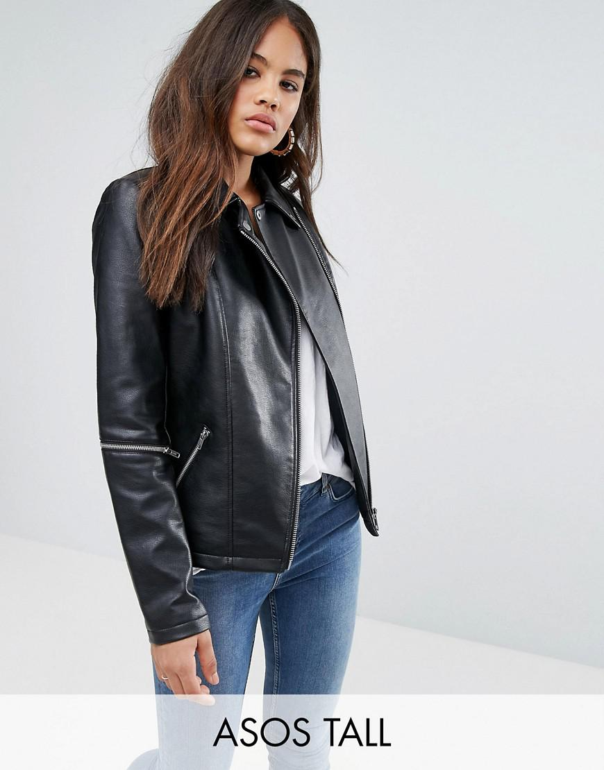 asos tall leather look jacket with zip sleeves