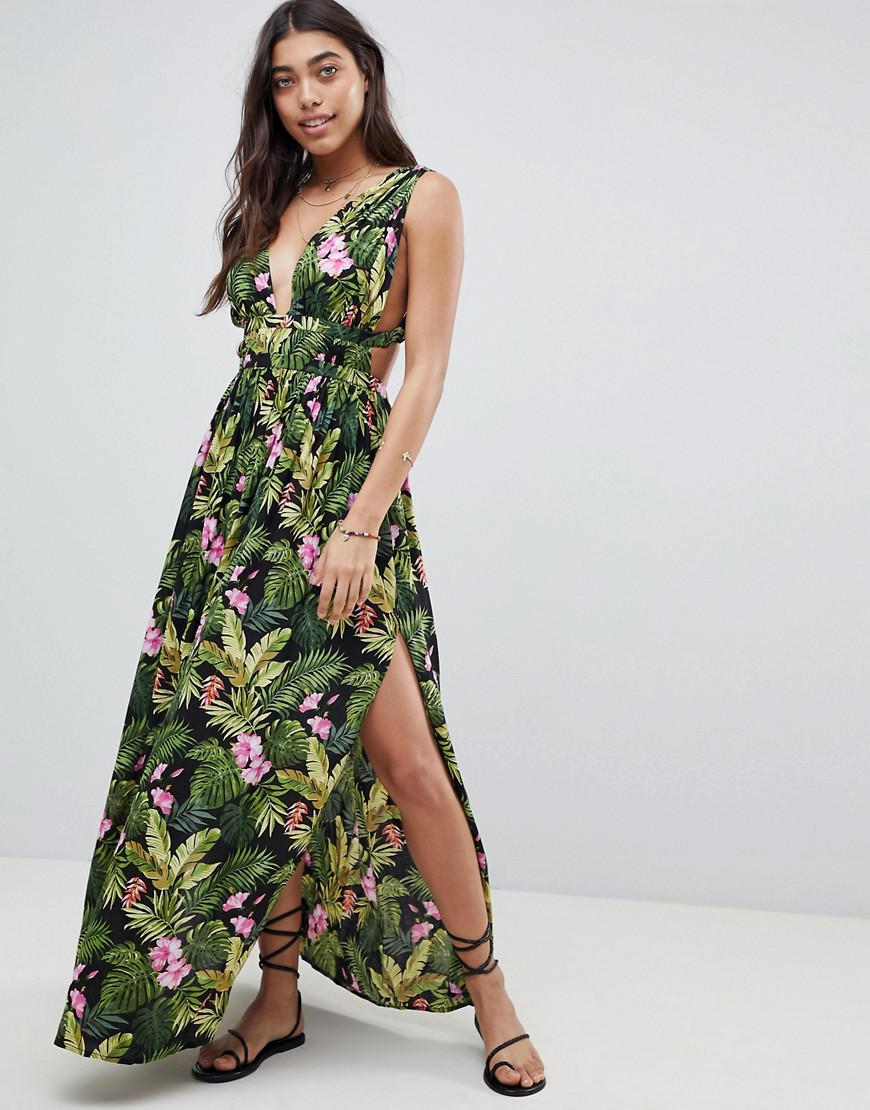 asos design grecian plunge maxi woven beach dress in hibiscus print