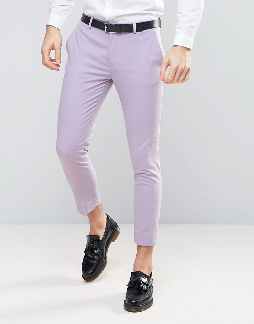 asos super skinny crop smart pants in light purple