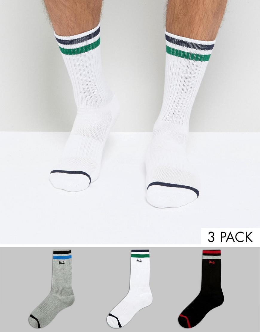 pringle socks in 3 pack with sport stripe