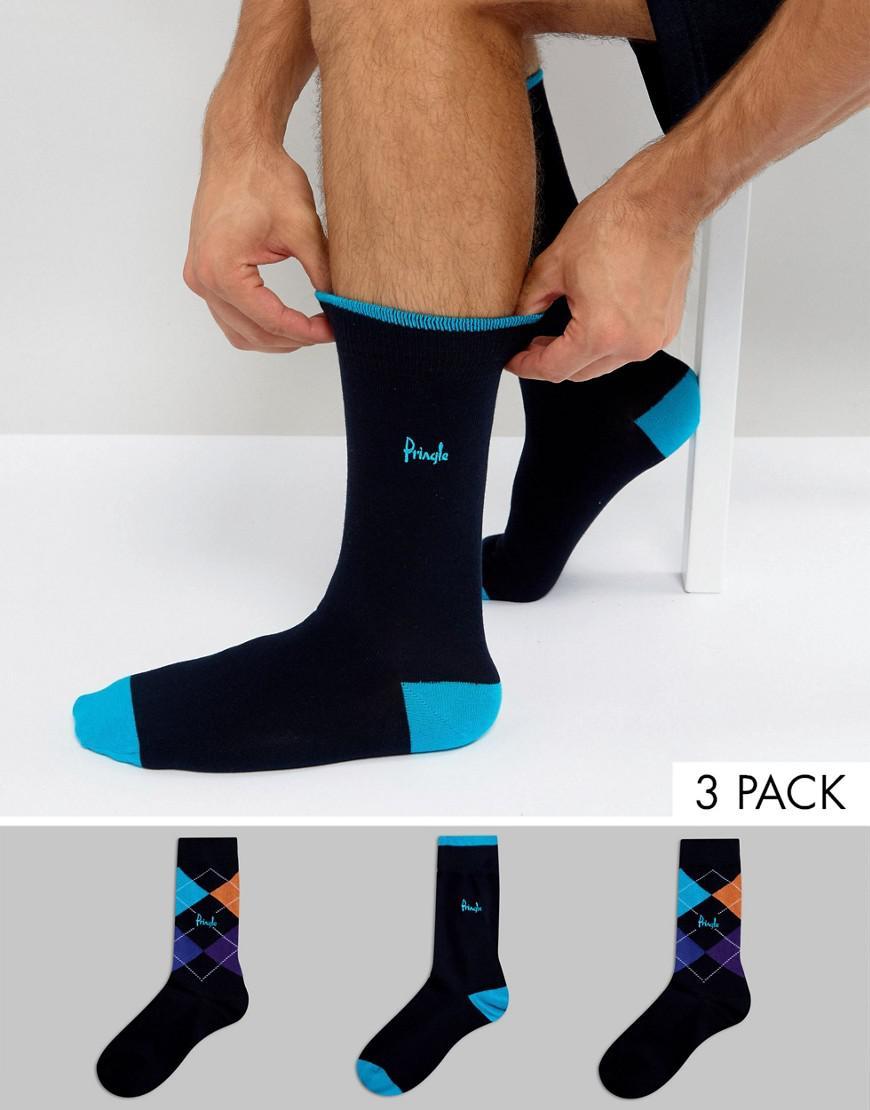 pringle waverley socks in 3 pack argyle