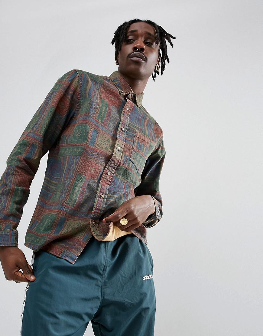 asos design regular fit vintage print cord shirt