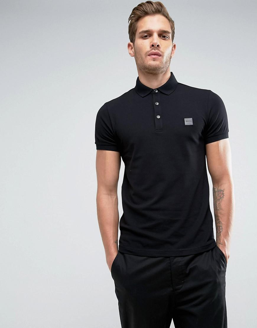 boss orange by hugo boss pavlik slim fit logo polo shirt black