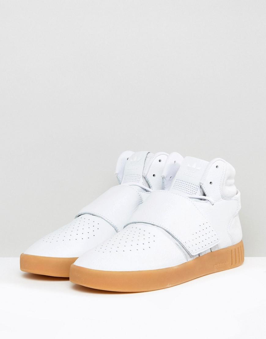 best authentic acc82 7332d Adidas Originals Tubular Invader Strap Sneakers In White By3629
