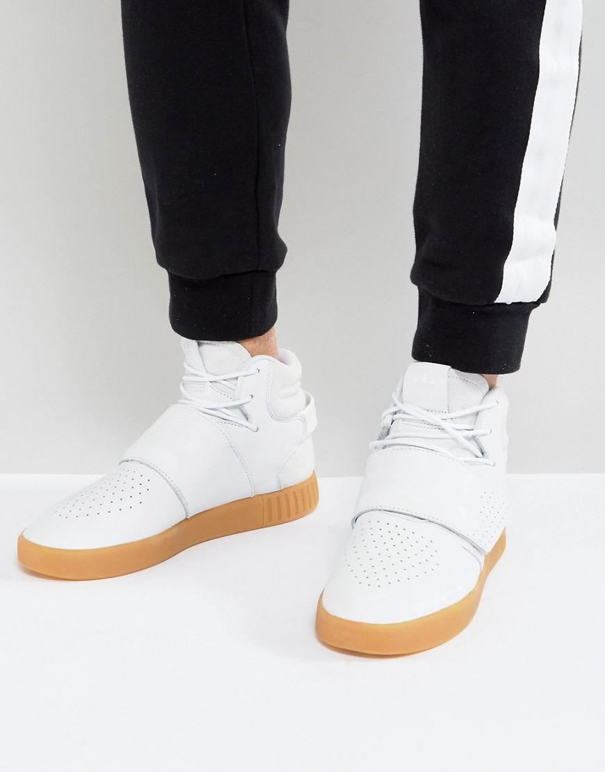 45ae34f1e0a06a adidas originals tubular invader strap sneakers in white by3629