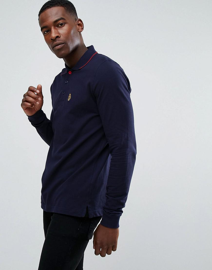 luke sport longmead tipped collar long sleeve polo shirt in dark navy