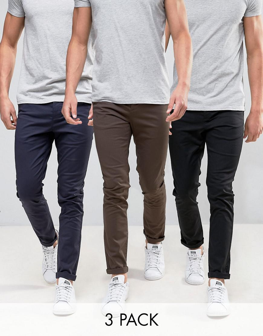 asos 3 pack skinny chinos in black navy & brown save