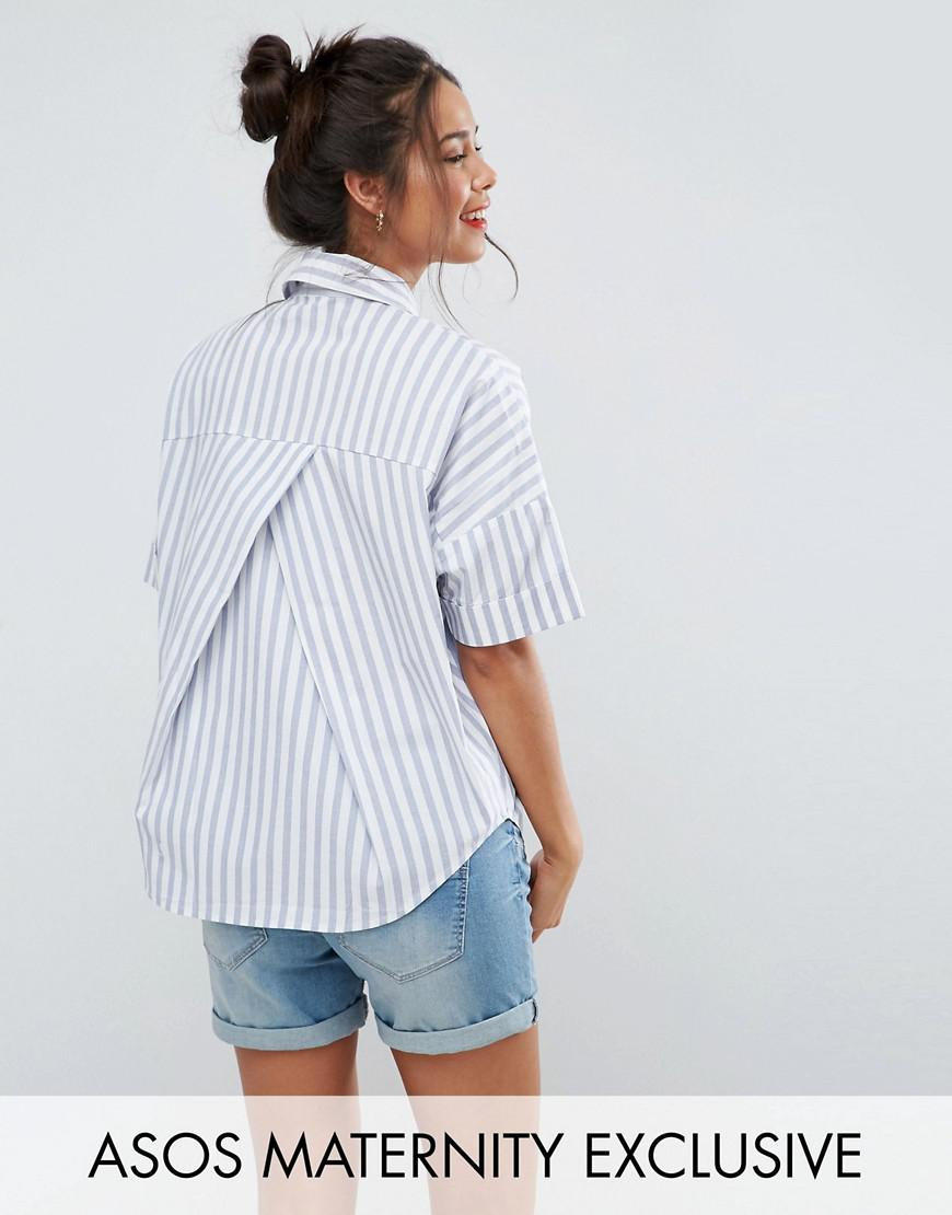 asos maternity short sleeve shirt in stripe with pleat back detail