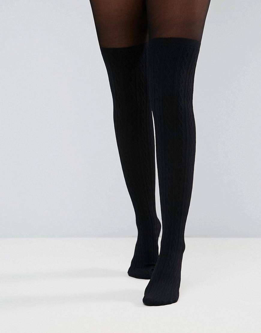 asos design cable over the knee tights with control top