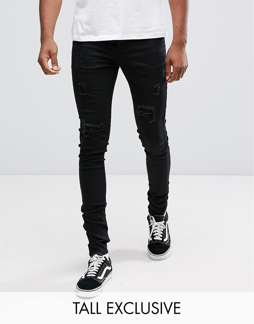 sixth june skinny fit jeans in black with distressing exclusive to asos