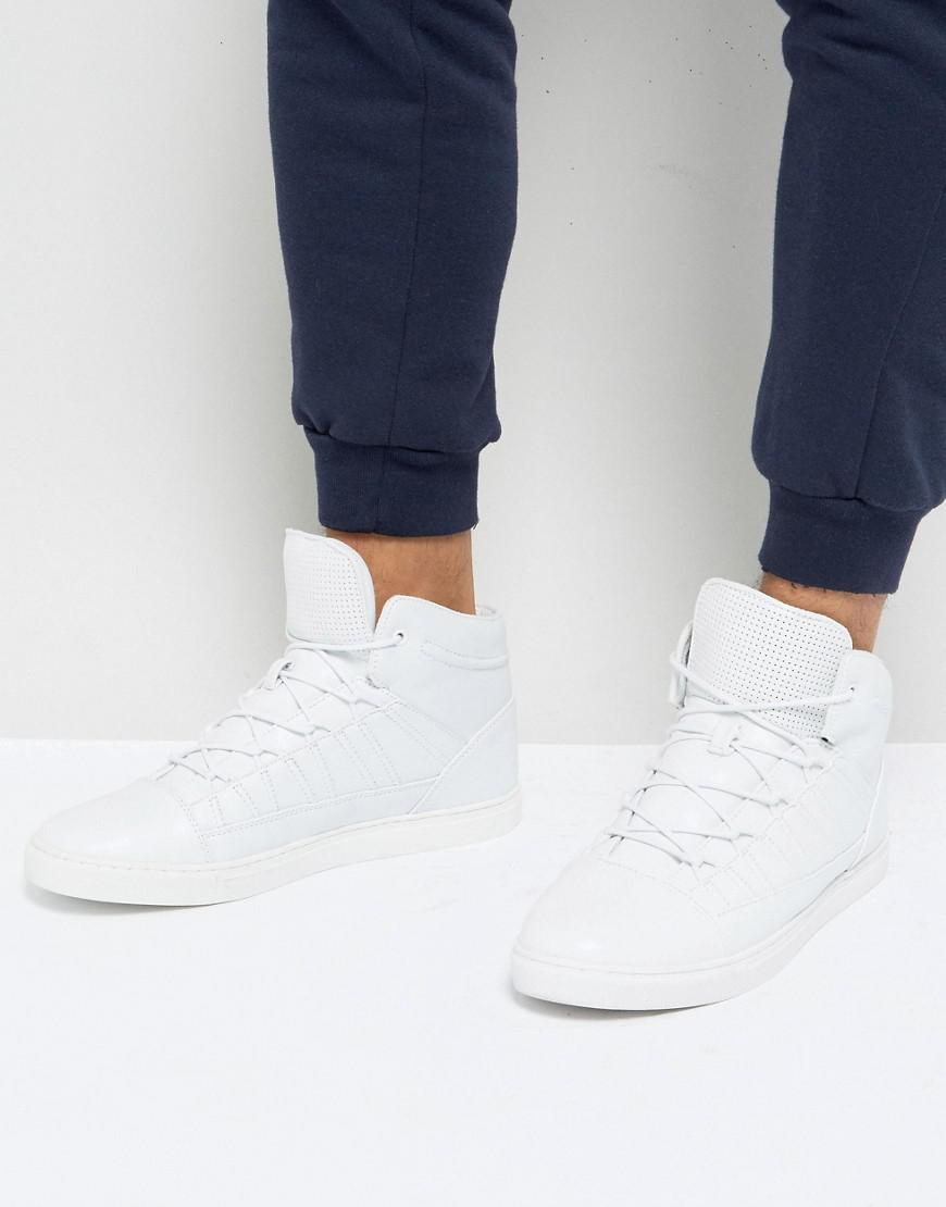 asos high top sneakers in white with perforated tongue