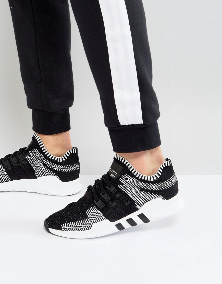 brand new 89812 22dde Adidas Originals Eqt Support Adv Primeknit Sneakers In Black By9390