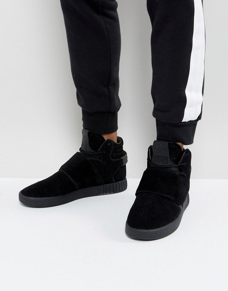 brand new 77a86 4692c adidas originals tubular invader strap sneakers in black by3632