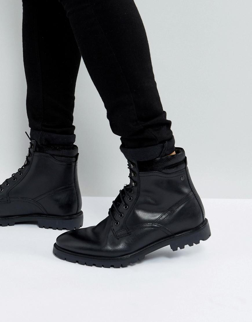 base london york leather lace up boots in black