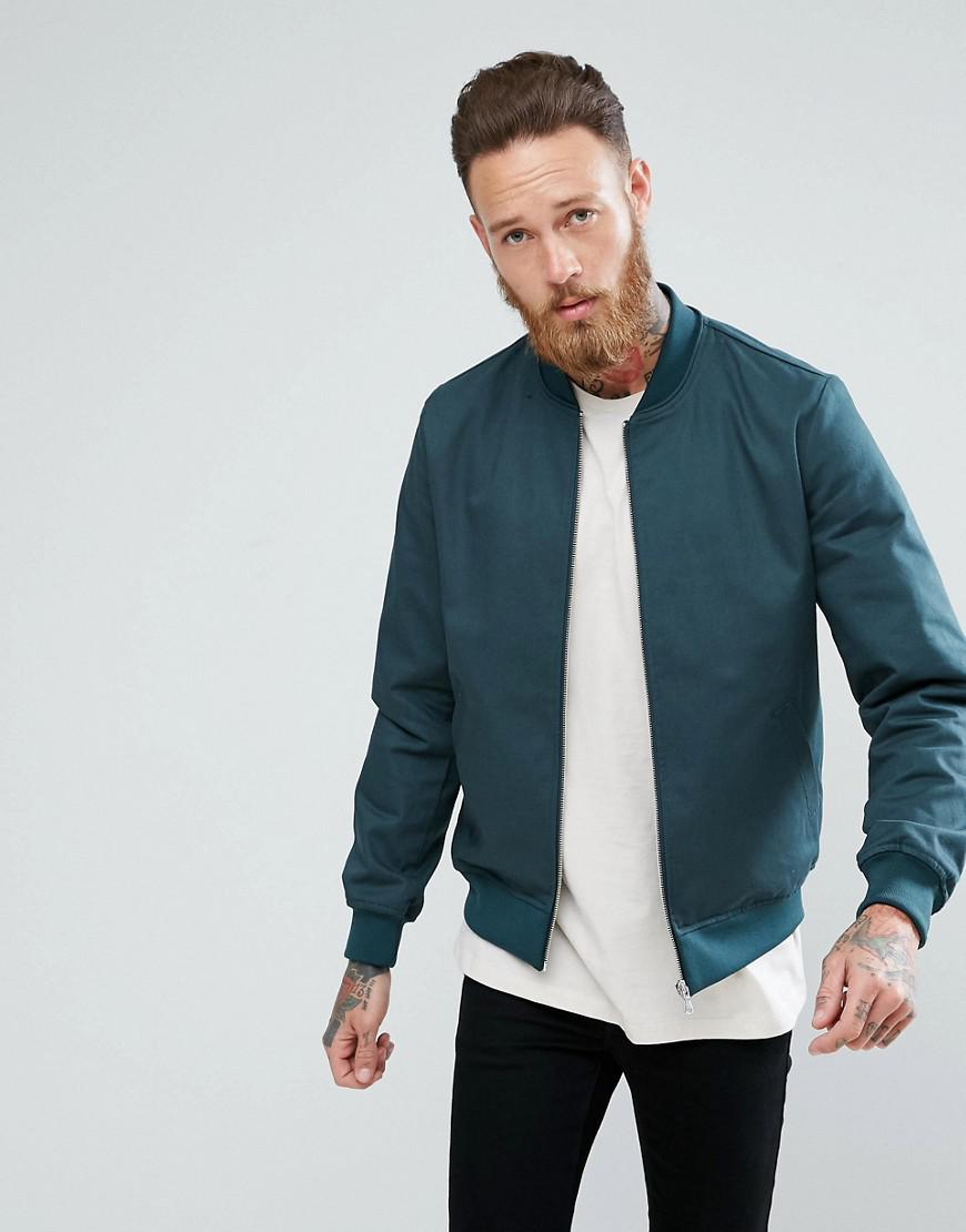 asos smart bomber jacket in bottle green