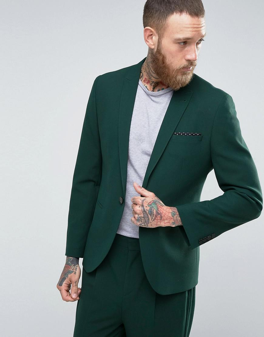asos skinny suit jacket in forest green