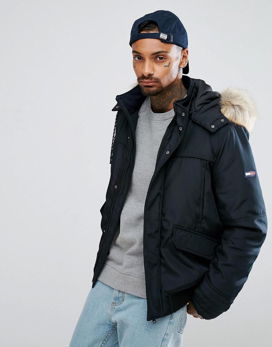 tommy hilfiger denim tech bomber hooded detachable faux fur trim in black