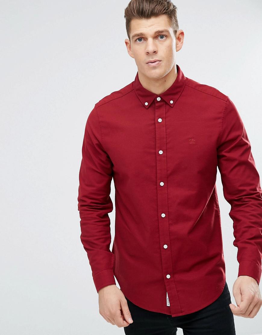 original penguin oxford shirt heritage slim fit in red