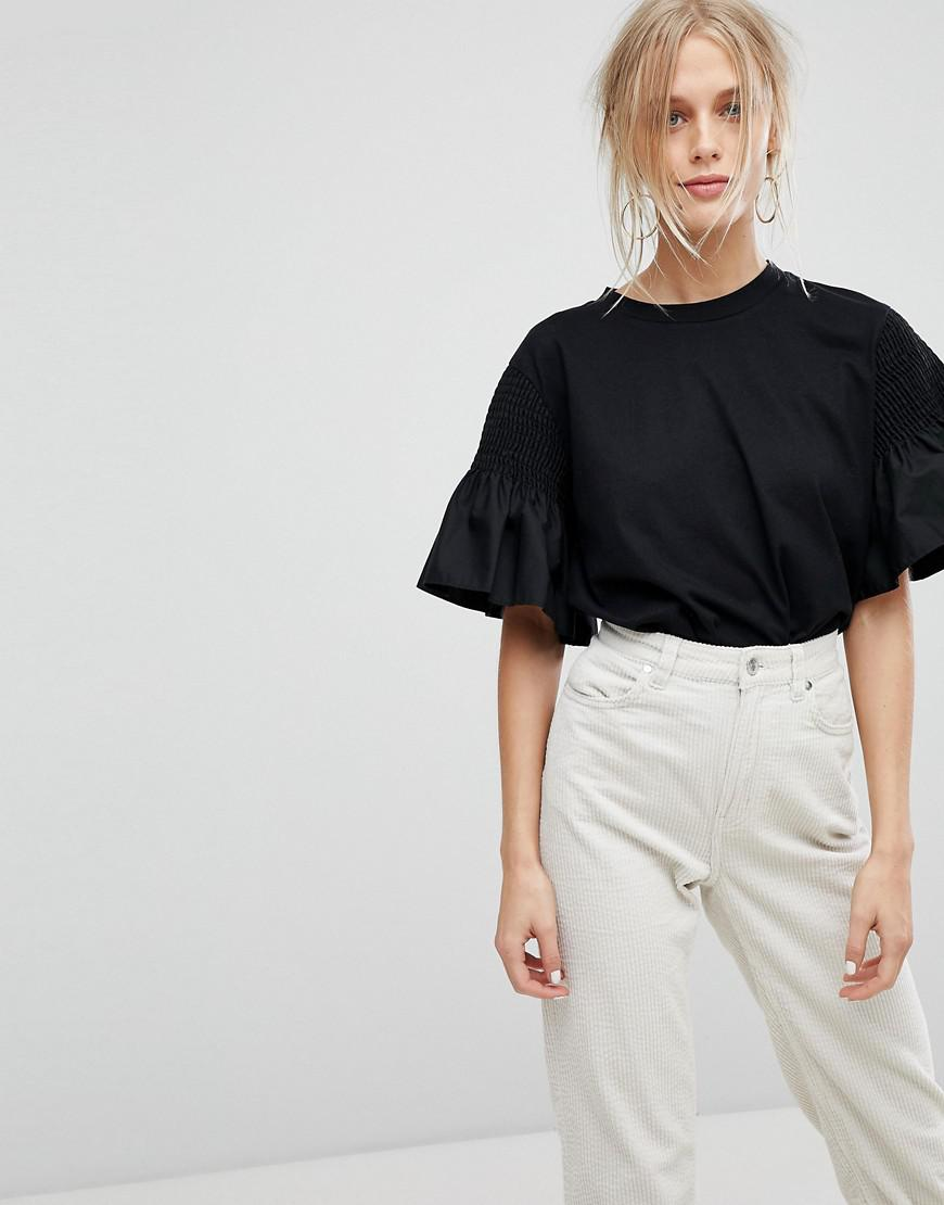 current air t-shirt with ruffle sleeve