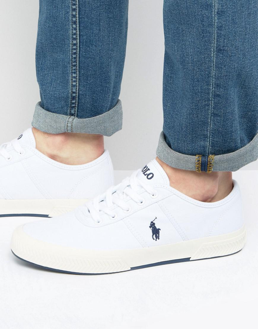 polo ralph lauren tyrian trainers canvas in white