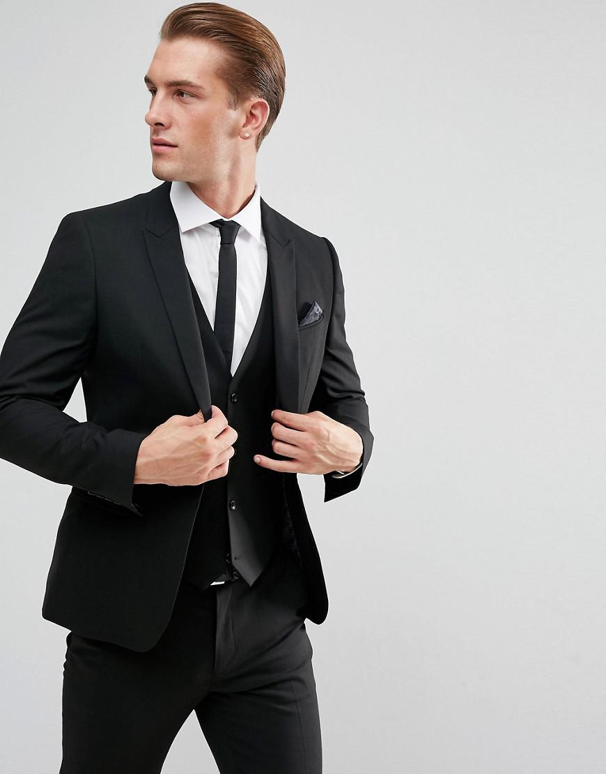 asos skinny suit jacket in black