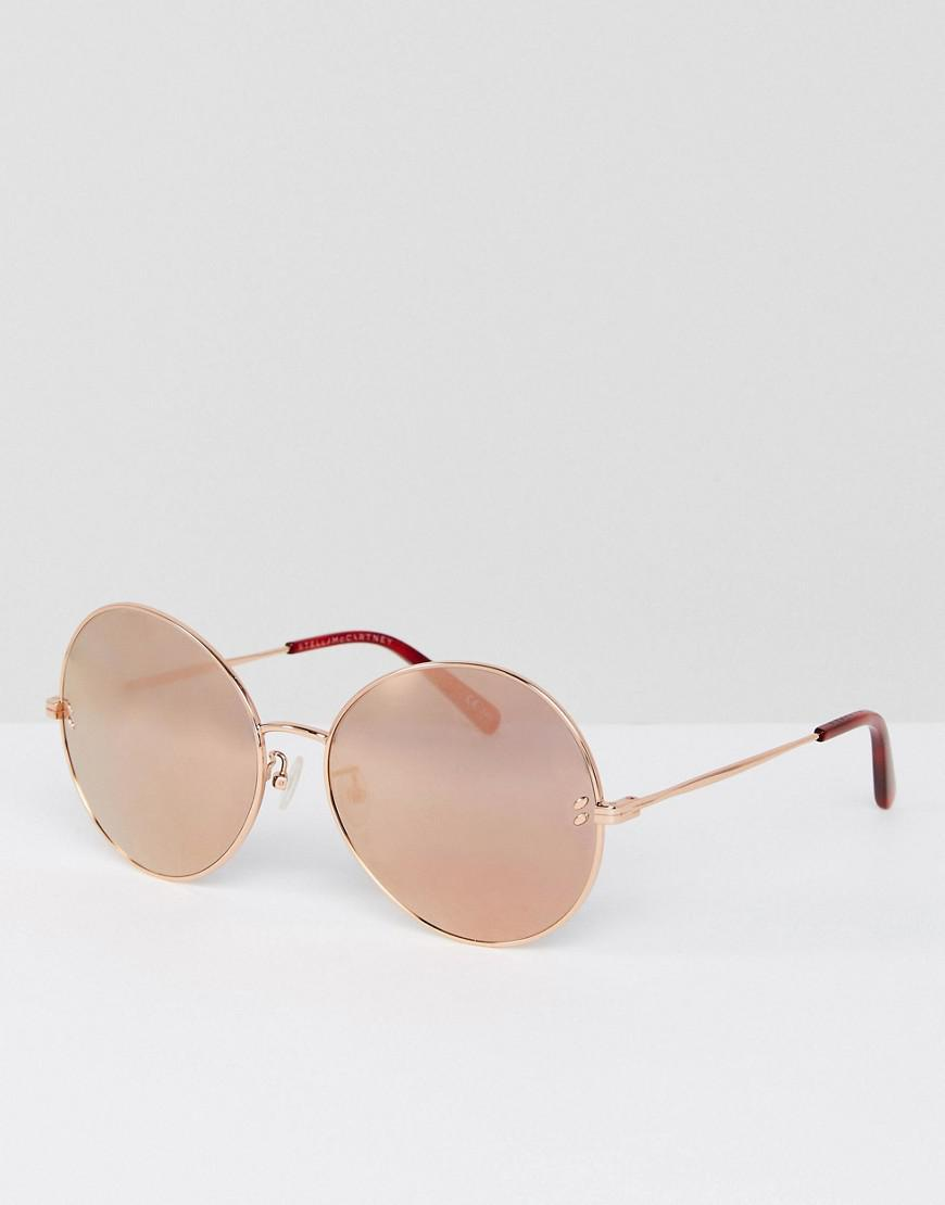 stella mccartney sc0087s round sunglasses in rose gold 62mm