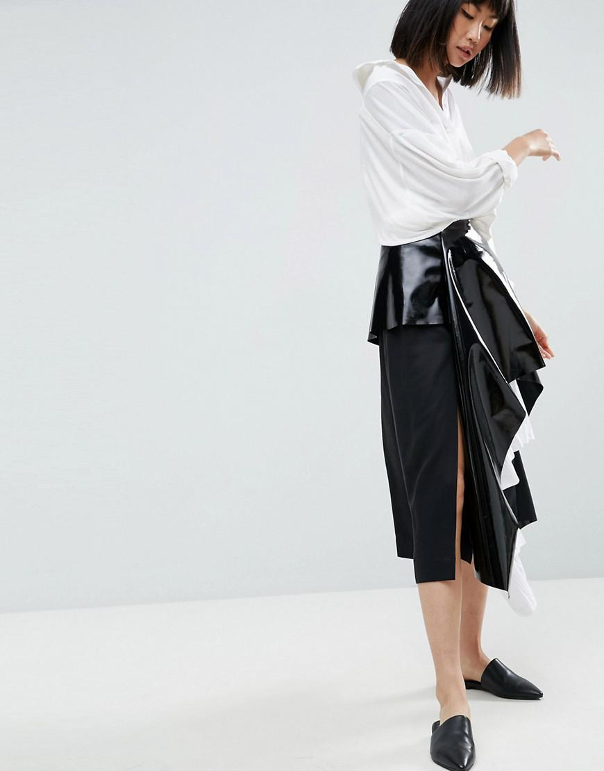 asos white vinyl cotton pleated layered midi skirt