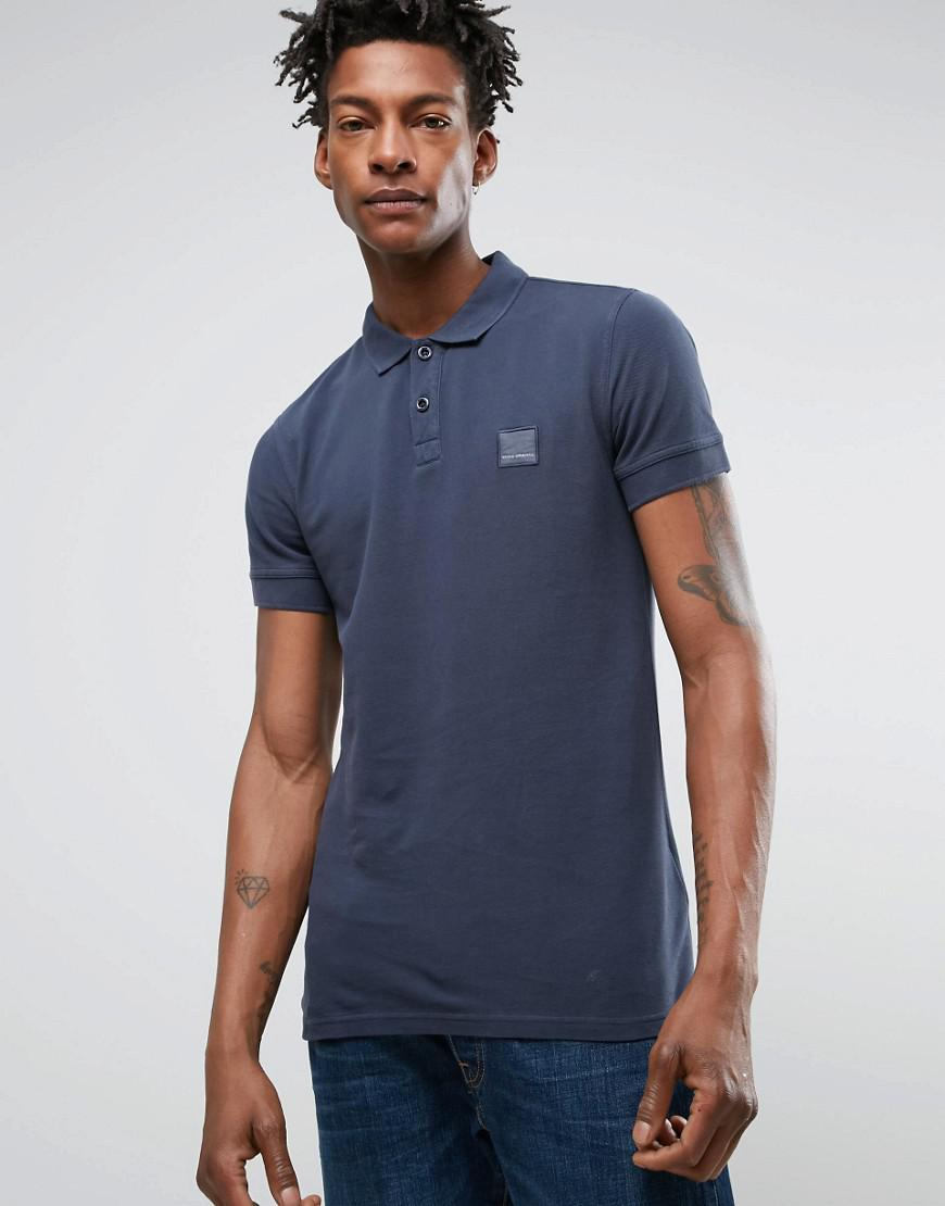 boss orange by hugo boss slim polo washed pique in navy
