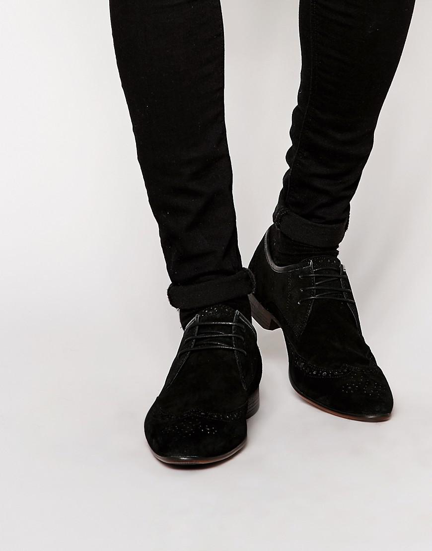 asos brogue shoes in black suede