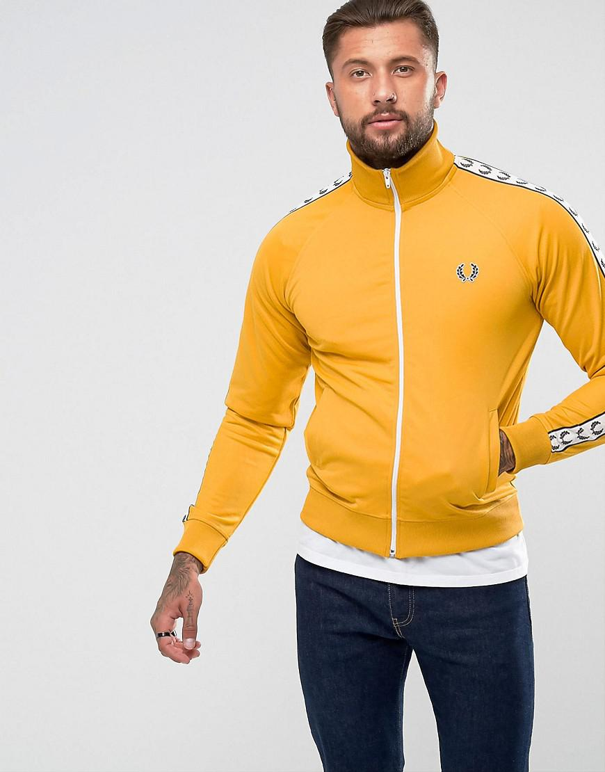 fred perry laurel wreath tape track jacket in yellow